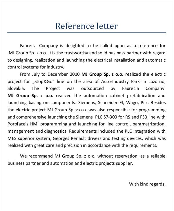 Reference Letter Business Partner