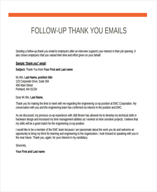 thank you email after interview example