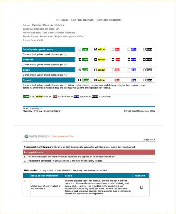 Sample Project Status Report