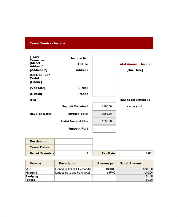 travel invoice template  7  Travel Invoice Examples