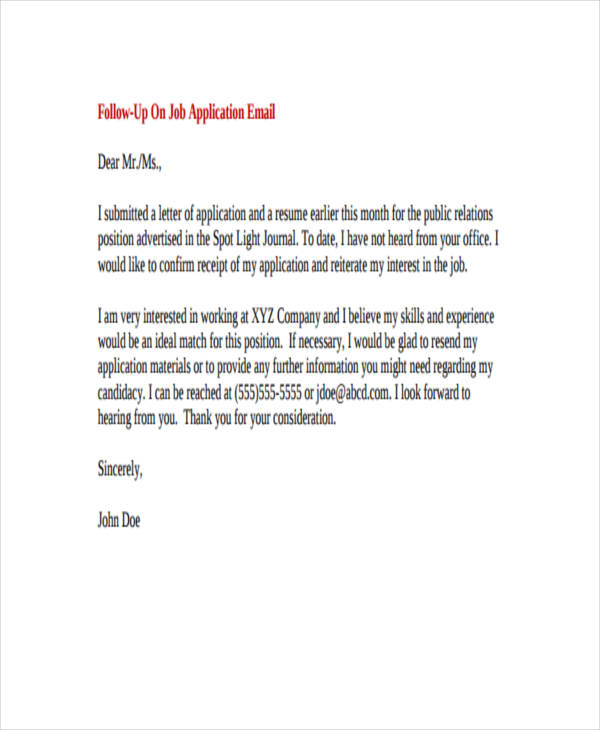 sample cover letter for job application via email gallery