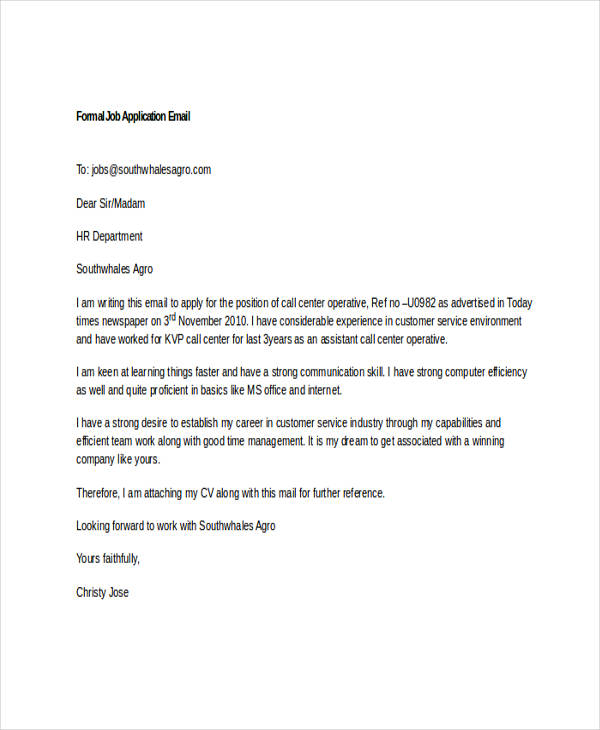 Write my email job application sample letter
