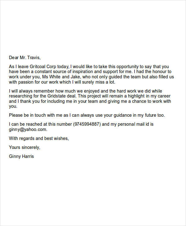 How To Write A Goodbye Letter Coworkers Cover Letter Sample