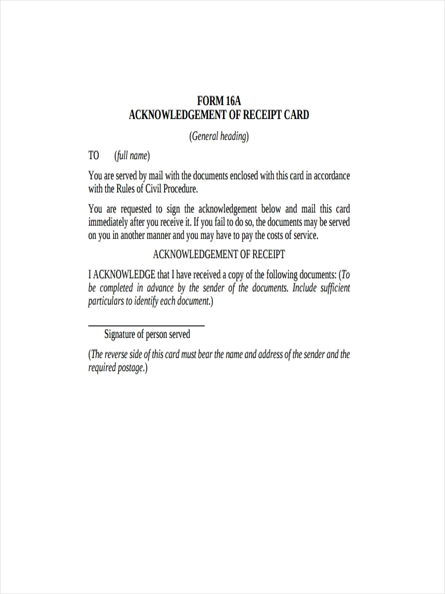 Acknowledgement Receipt Template Sample Format Example - mandegar.info