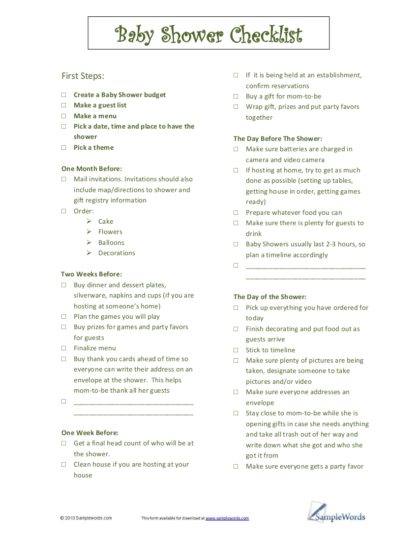 Elegant 9 Checklist Examples For Baby Showers Marvellous Baby Shower Guest Etiquette  ...