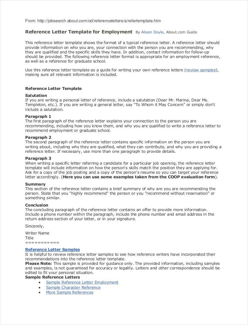 reference letter job sample