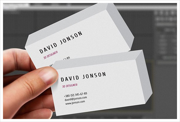 3d clean business card example