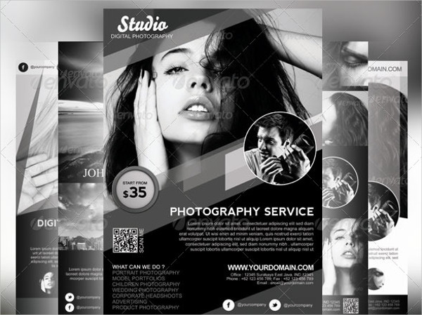 a4 black and white photography flyer