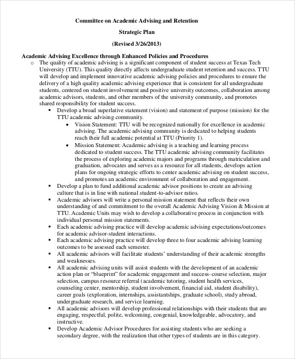 academic advising strategic plan