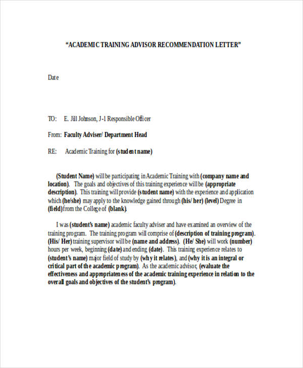 Academic Advisor Recommendation Letter