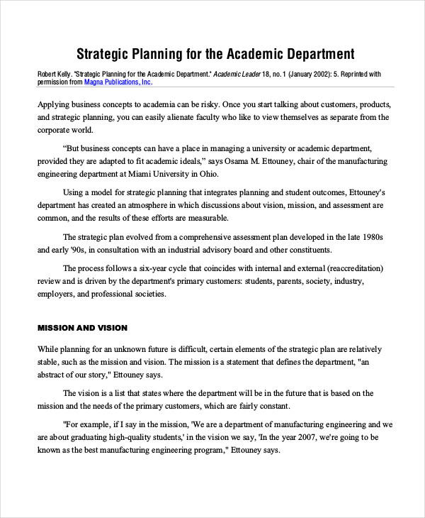 academic department strategic plan