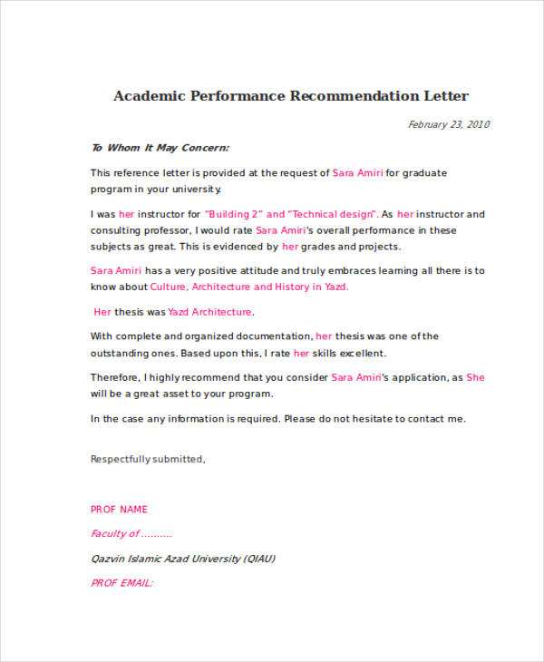 academic performance recommendation letter