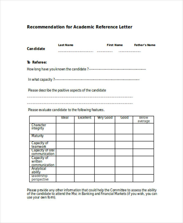 academic reference recommendation letter