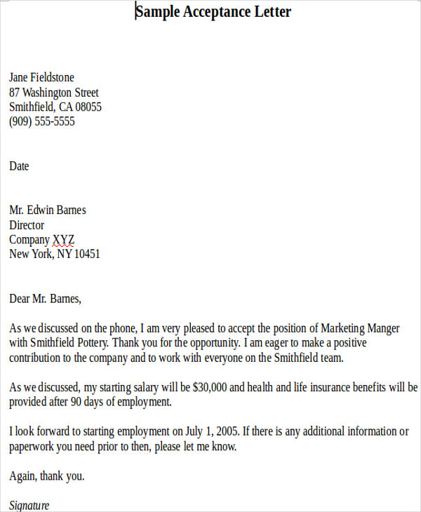 Acceptance Of Salary Offer Letter  Acceptance Of Offer