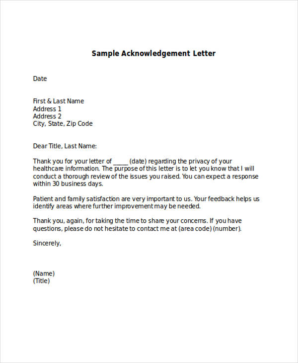 Acknowledgement Letter Examples  Samples  Doc