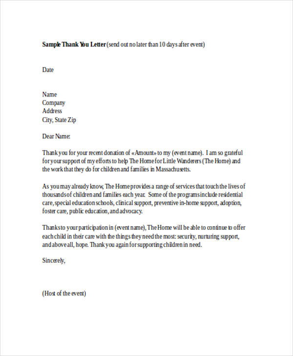 Thank You Letter To Staff For Kindness