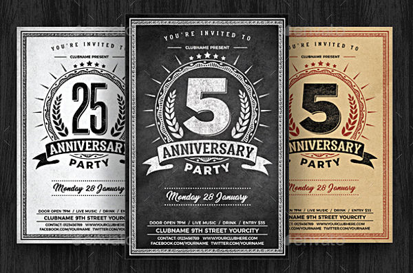 anniversary party chalk flyer