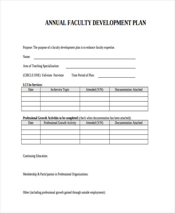 Annual Faculty Development Plan  Development Plan Template For Employees