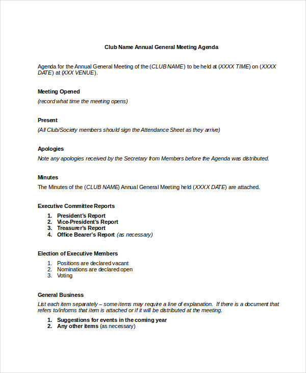 annual general meeting agenda