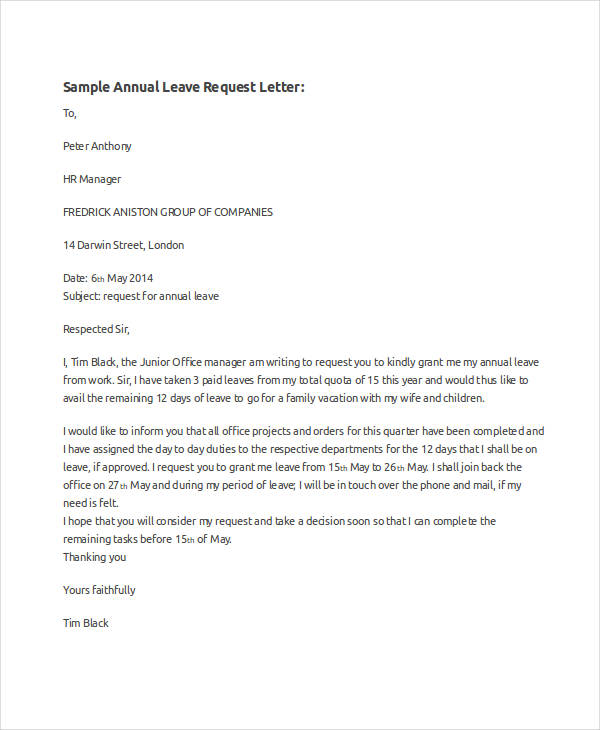 48 examples of formal letters annual leave request letter spiritdancerdesigns Images