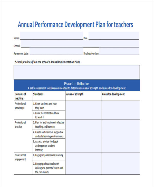 annual performance development plan