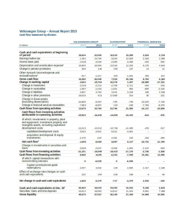 annual report cash flow statement