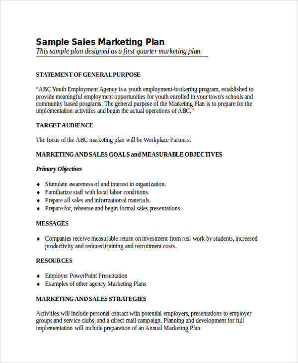 annual sales and marketing plan