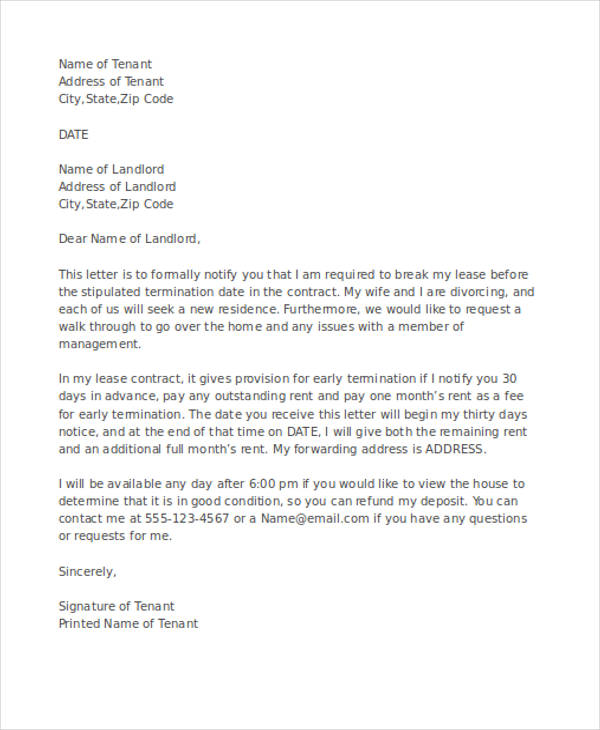 apartment early termination letter
