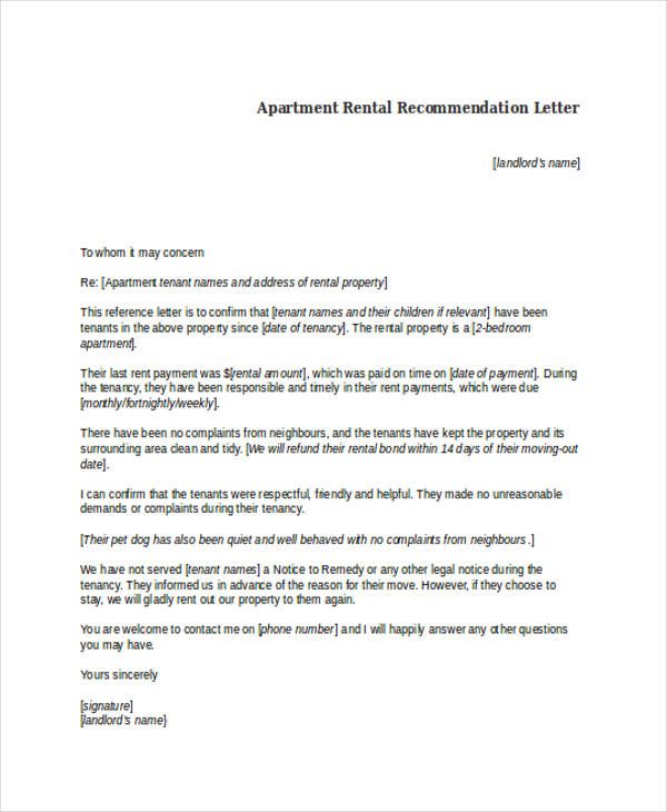 apartment rental recommendation letter
