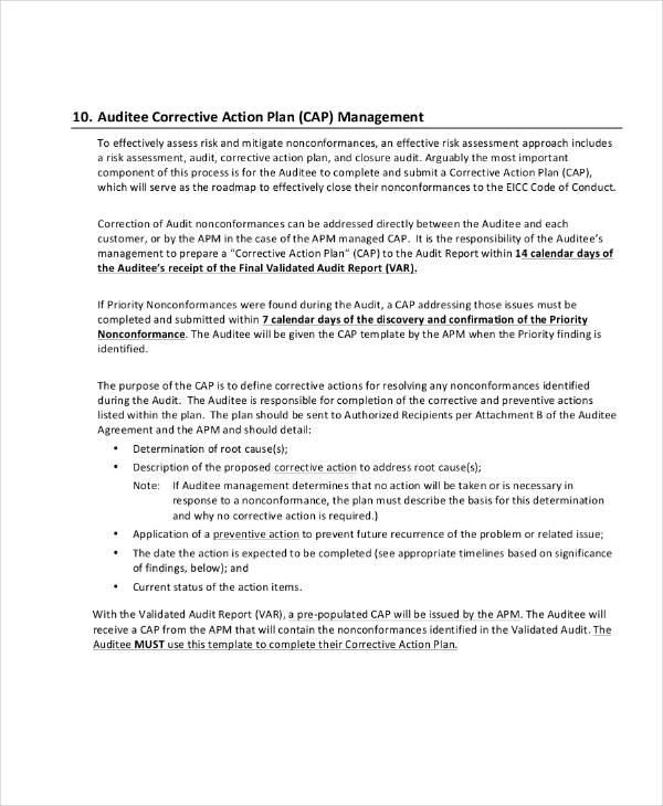 audit corrective action plan