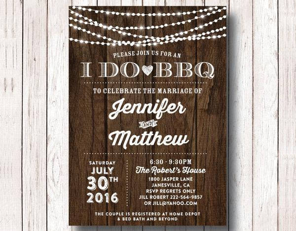 bbq wedding reception invitation