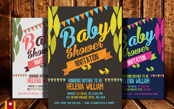baby shower event psd flyer