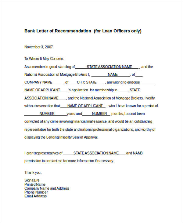 bank loan recommendation letter