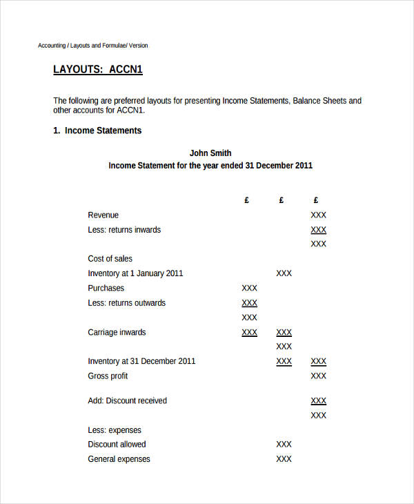 Examples Of Income Statement