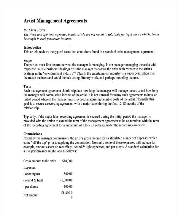 basic artist management agreement