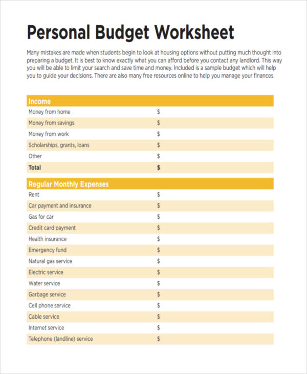 basic budget worksheet - Personal Budget Worksheet