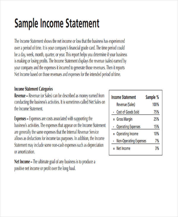 Sample Income Statement Traditional Income Statement Format Income