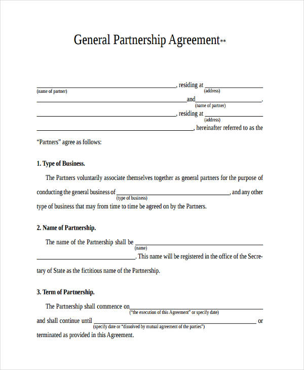 General Partnership Agreements Free Promissory Note Templates