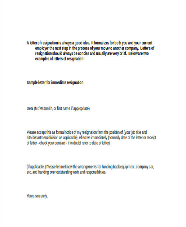 49 Resignation Letter Examples – Immediate Resignation Letter