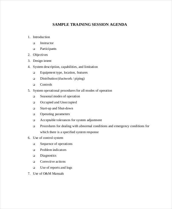 basic training session agenda