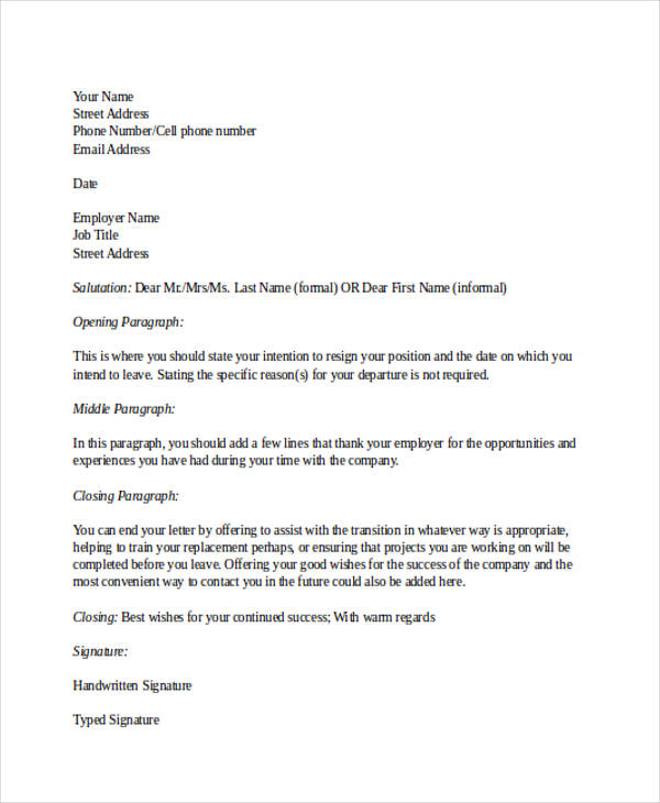 basic two weeks notice letter