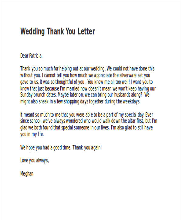 basic wedding thank you letter