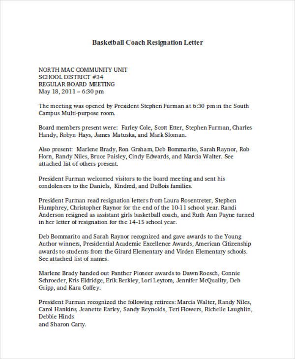 basketball coach resignation letter sample - Board Member Resignation Letter Sample