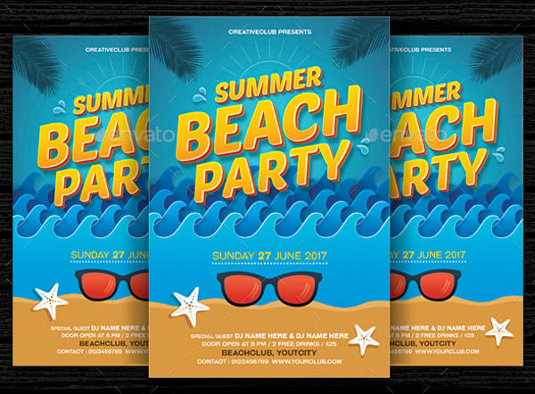 beach pool party flyer