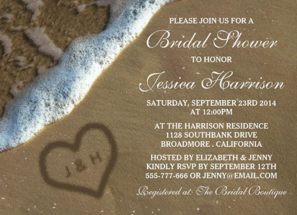 -Beach Theme Bridal Shower Invitation