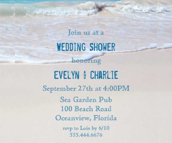 beach theme wedding shower invitation1