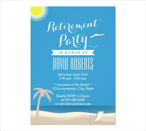 beach themed retirement party invitation