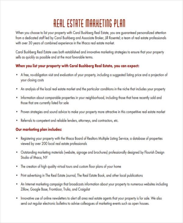 best real estate marketing plan