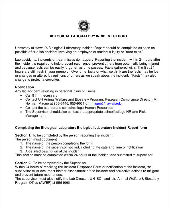 Laboratory Incident Report