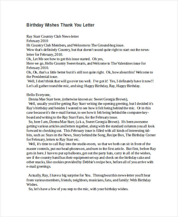 birthday wishes thank you letter